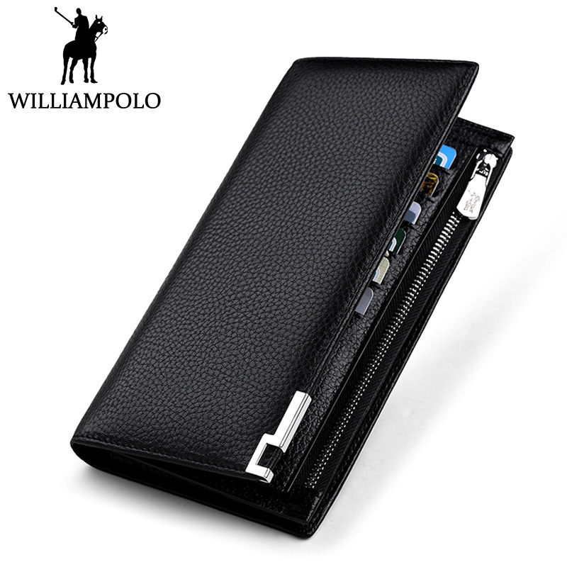 WILLIAMPOLO Zipper Long Men Wallet Genuine Leather Luxury Brand Purse Business Male Phone Wallet Fashion Card Holder Clutches men s purse long genuine leather clutch wallet travel passport holder id card bag fashion male phone business handbag