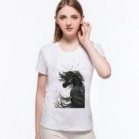 2017 Black Ink Painting Horse Pattern Print T Shirt Gentleman Style King HORSE Female Tops Harajuku