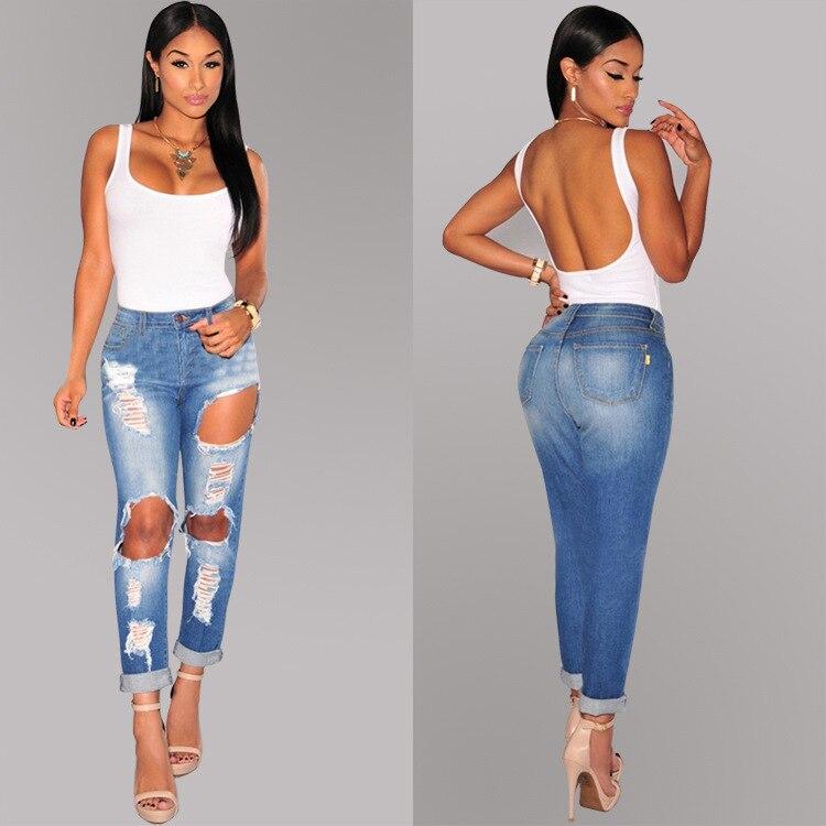 f8ad3d9ca7f Bule denim midnight women sculpt ripped jeans bottoms up bleach slim big  holes ankle length jeans butt lifting pencil jeans XXL