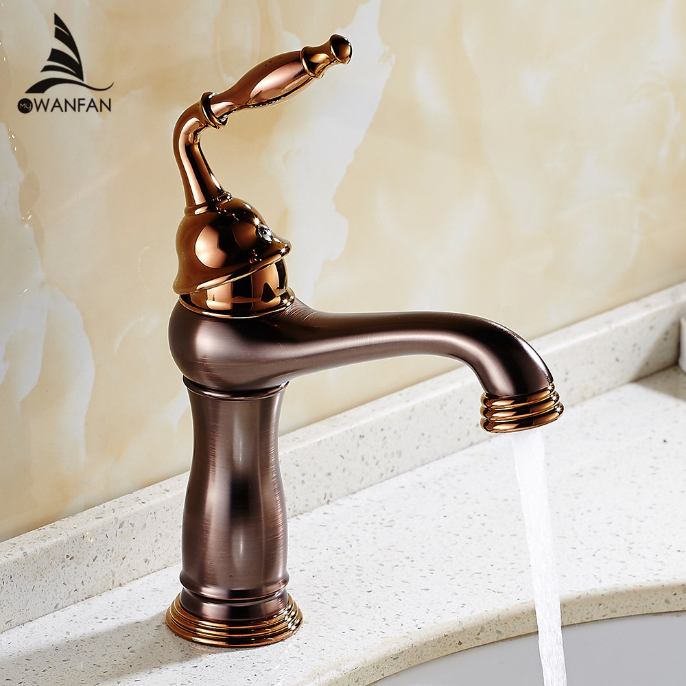 Basin Faucets Brass Oil Rubbed Bronze Bathroom Sink Faucet Single Lever Deck Washbasin Vessel Water Tap Mixer Black Crane 9238 bathroom accessories black oil rubbed bronze toothbrush holders band ceramic cups wba474