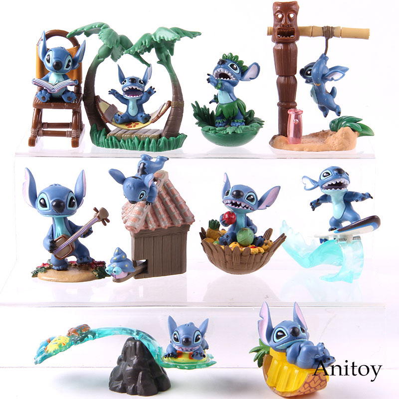 Lilo & Stitch Beach Surfing Reading Hawaii Stitch Action Figure Anime PVC Collectible Model Toy Decoration Doll 5pcs/set