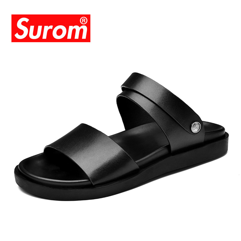 SUROM Men's Sandals Summer Non-slip Rubber Beach Casual Shoes Outdoor Comfortable Male Flats Soft Slippers Sandals Dual Purpose