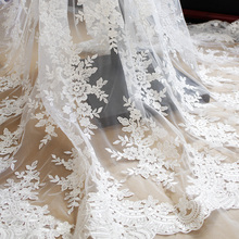 1Yard Embroidery Lace Fabric Sequins Trim Applique Tablecloths Curtains Diy Materials Wedding Accessories