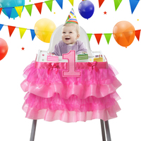 91 5x35cm Tulle Tutu Table Skirt Baby Shower One Year Old Birthday Decoration Party Chair Kawaii