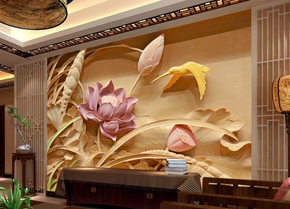 Buy wood carving lotus mural tv backdrop for 3d wood wallpaper