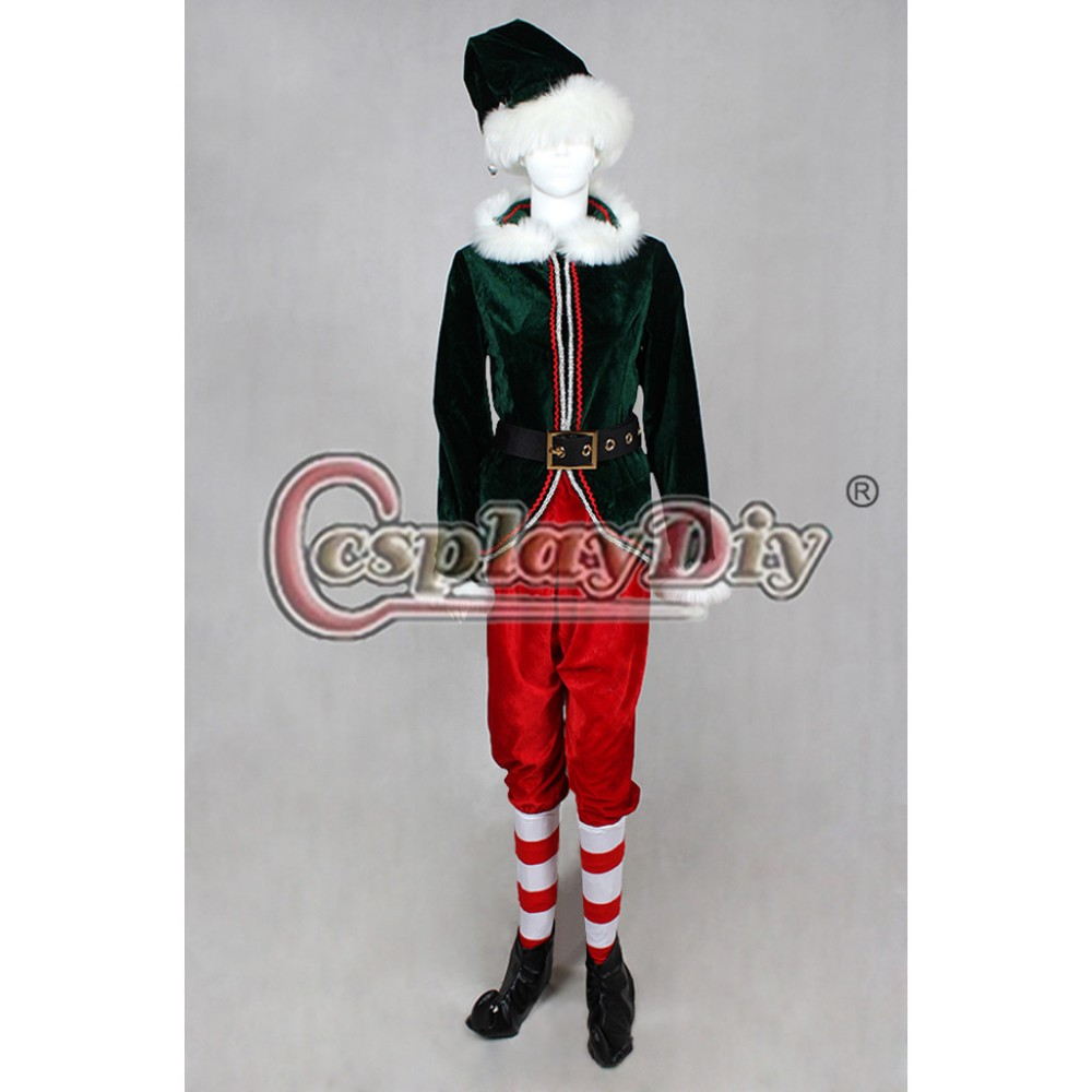 Cosplaydiy Red and Green Christmas Elf Adult Deluxe Cosplay Costume Any Size Custom Made