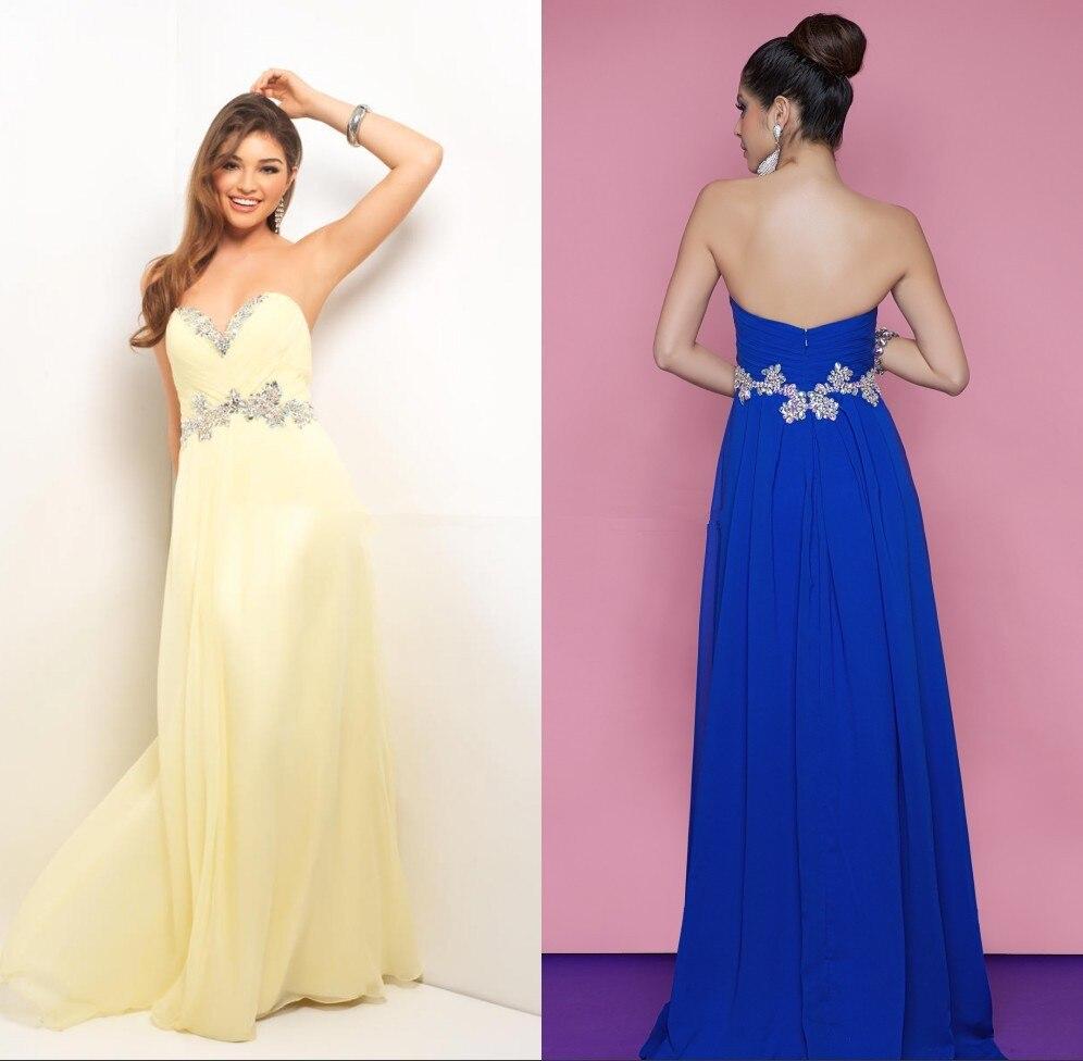 Azul intenso amarillo novia de gasa vestido de noche vestidos ...