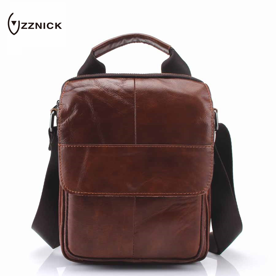 ZZNICK 2018 Mens Bags Genuine Leather male Crossbody Bags strap Small Casual Flap Men Leather messenger bag mens shoulder bag