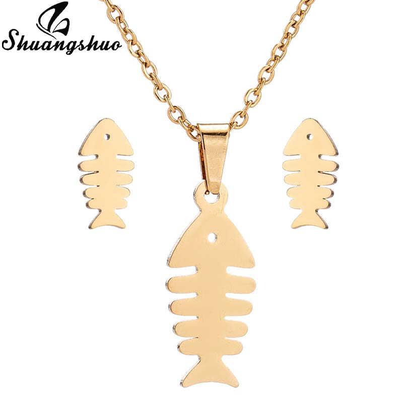 Shuangshuo נירוסטה דגי עצם שרשרת סטים לנשים שרשרת עגילי תכשיטי סטי דגי תליון עגילי קולר bijoux