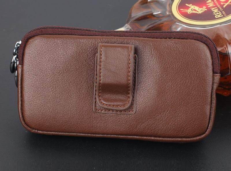 Brown genuine leather belt clip pouch bag case (2)
