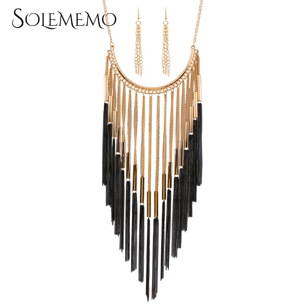 2017 Hot Sale New Fashion Jewelry Sets Statement Tassels Necklace Earrings Sets Women Charming Pendant Chain Accessories N3848