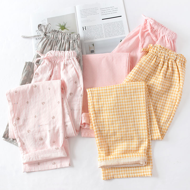 Spring And Summer Couples Home Pants Women Cotton Double Gauze Thin Sleep Pants Sleep Bottoms Casual Printing Pyjamas