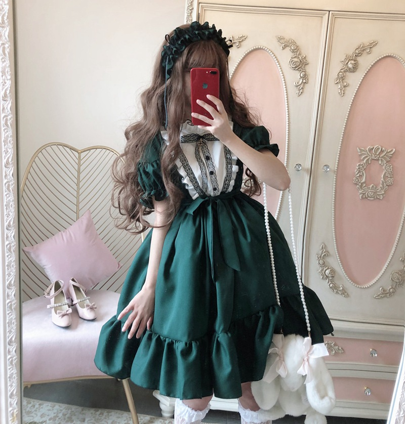 Sweet Princess Lolita Dress Elegant Atrovirens Long Sleeve Women Green Dresses