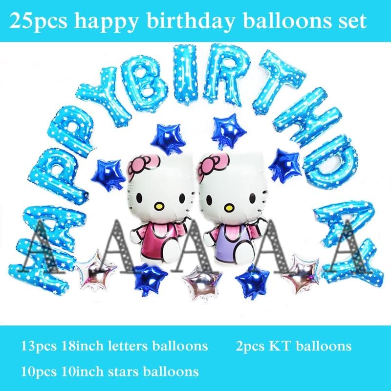 letter balloon 25pcs/set happy birthday balloons set foil material hello kitty b