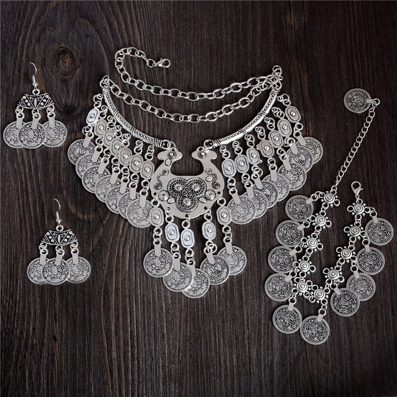 QCOOLJLY Vintage Tibetan silver Color Vintage Coin Style Ethnic necklace Bracelet Any One 1pc Party Gift For Women(China)