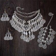 QCOOLJLY винтажный Тибетский серебристый цвет Винтажный стиль монет этническое ожерелье браслет любой 1 шт Вечерние Подарки для женщин