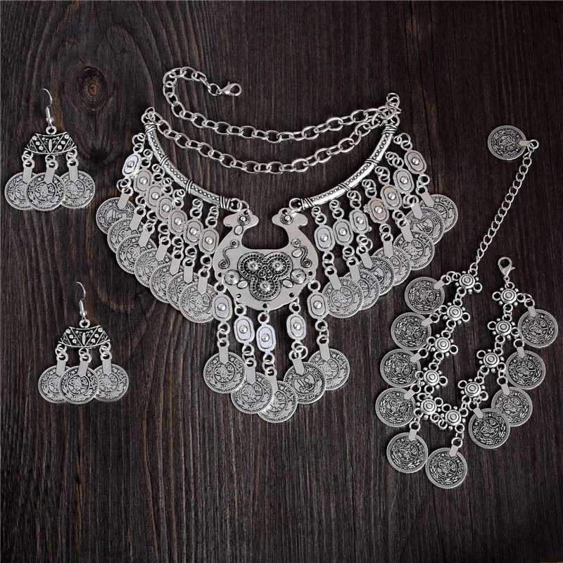 QCOOLJLY Vintage Tibetan silver Color Vintage Coin Style Ethnic necklace Bracelet Any One 1pc Party Gift For Women