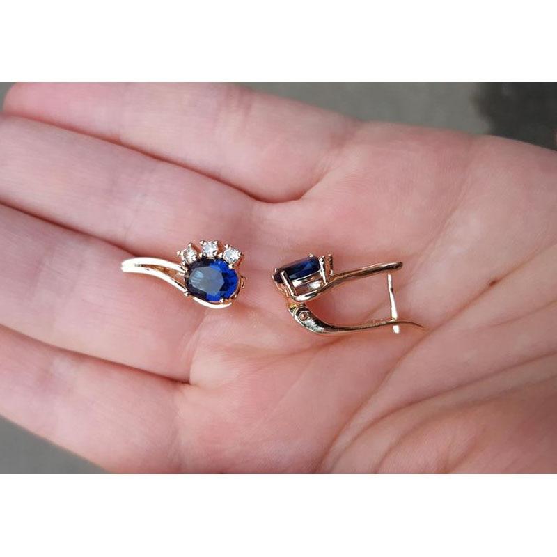 Fj Femmes Longue Boucle D Oreille Bijoux Naturel Bleu Royal Vert