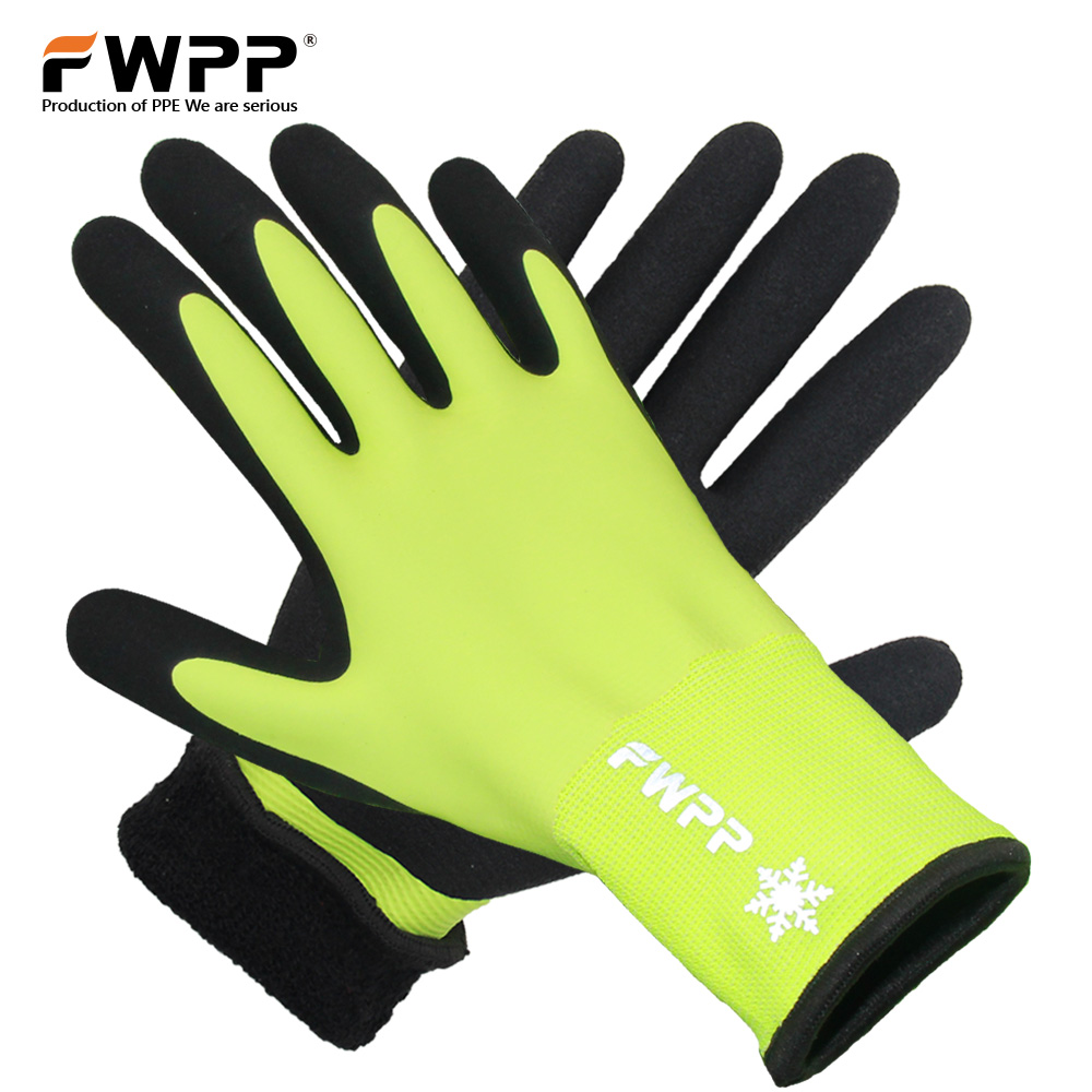 FWPP 1Pair High Visibility Full Thermal Lining Winter Work Gloves Skid Resistance Keep Warm Ourdoor Safety Gloves Yellow Black fluorescence yellow high visibility