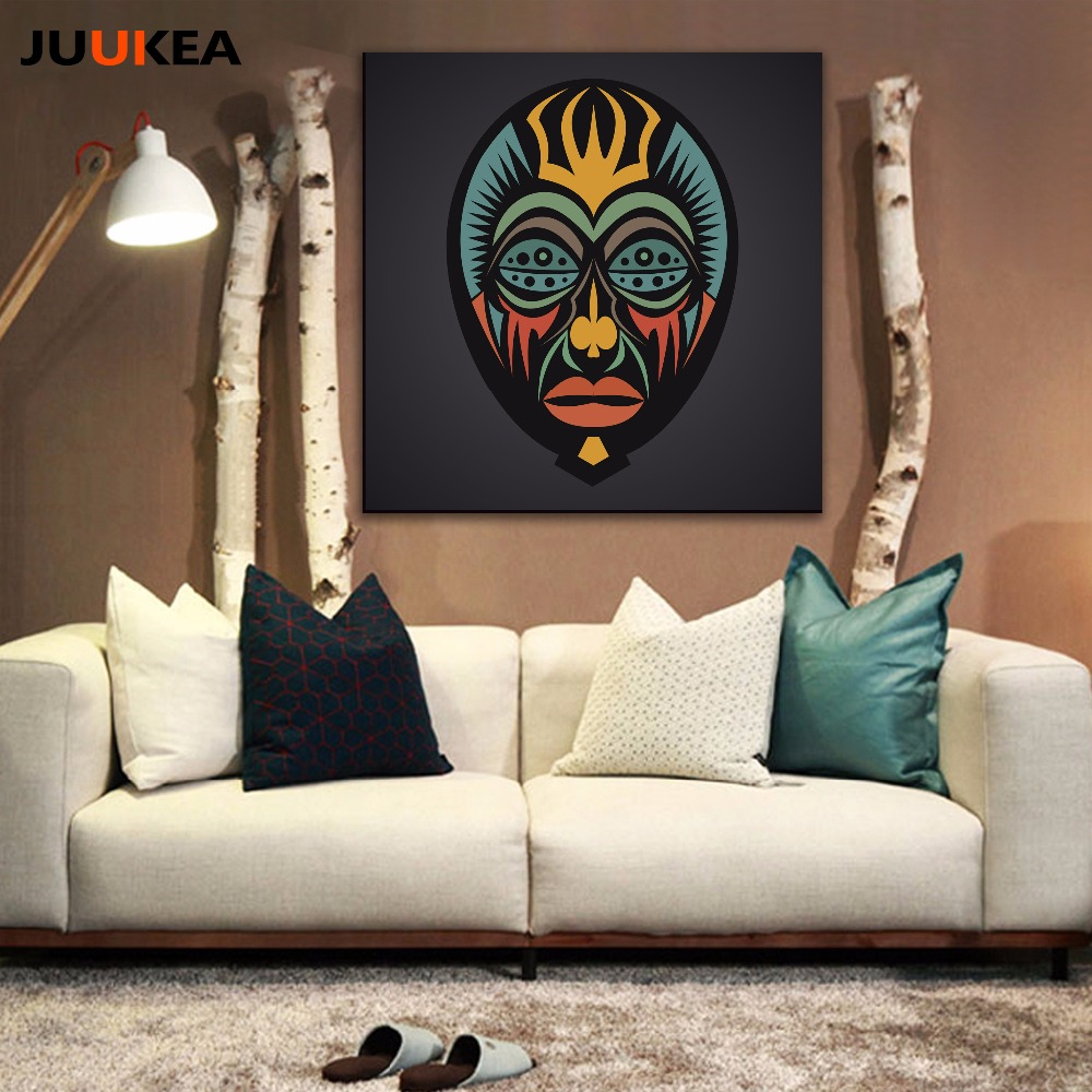 High Quality 4 Pcs Indian Black Mysterious Face Design Cool Totem Canvas Art Print  Painting Poster, Wall Picture For Living Room, Home Decor Part 15