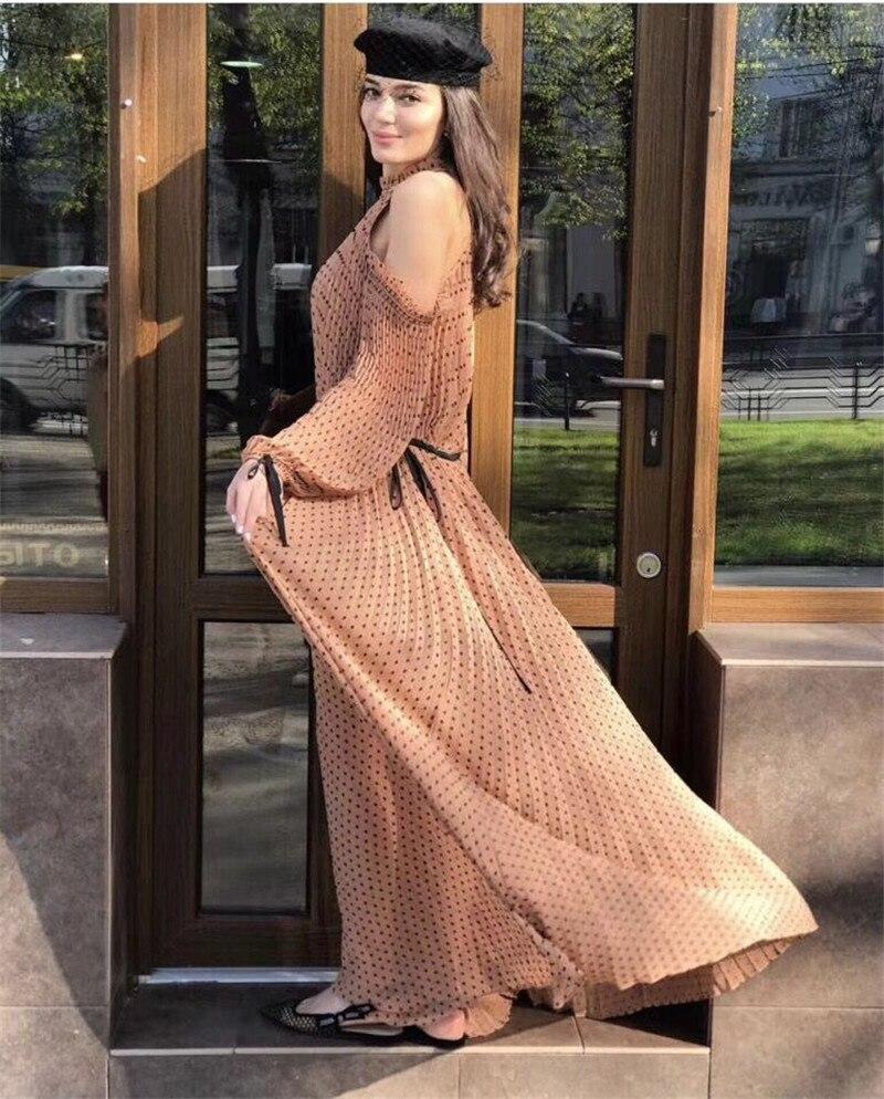 2018 여름 도트 인쇄 pleated 드레스 제안 어깨 고삐 긴 여성 드레스를-에서드레스부터 여성 의류 의  그룹 1