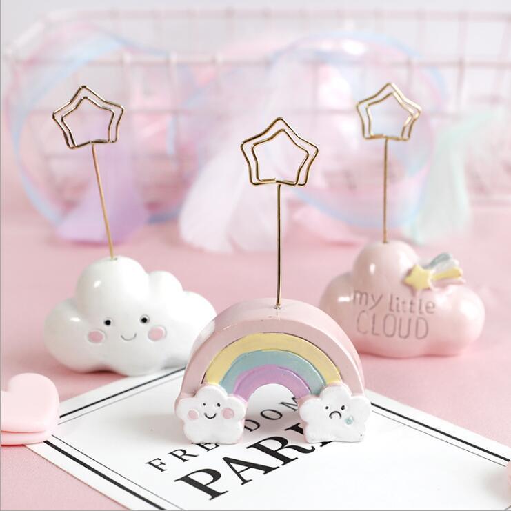 Resin Kawaii Photo Clip Note Clip Creative Cute Cartoon Cloud Message Clip Business Card Clip Desktop Decorative Small Ornaments