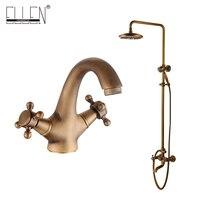 Antique Brass Bathroom Rain Shower Set Rainfall Bath Shower Faucet Antique Bronze Finished with Bathroom Basin Faucet EL4006/2