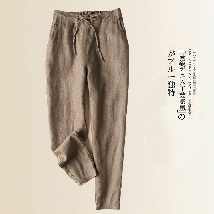 Female Summer Cotton Linen   Pants   Korean Plus Size 3xl Khaki Pencil   Pants   Girls Loose Slim Trousers Women Casual Lace Up   Capri