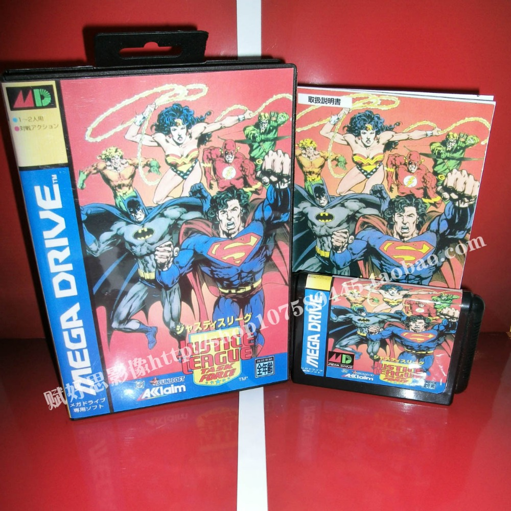 Justice League Game cartridge with Box and Manual 16 bit MD card for Sega Mega Drive for Genesis