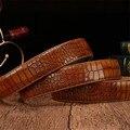 (Sin Hebilla, sólo Cinturón) 2016 Nueva Venta de Moda de Alta Calidad de Cuero y PU Cinturones Cinturones de Lujo del Grano Del Cocodrilo de Los Hombres