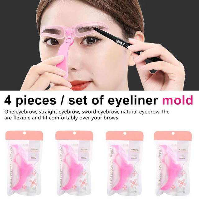 4pcs / set Reusable Eyebrows Shaping grooming and grooming Eye Brow Make Up Template Template Drawing Eyebrows Styling Tool 1