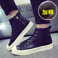 Warm high plus cotton velvet men shoes antiskid shoes British Korean thick soled shoes in autumn and winter