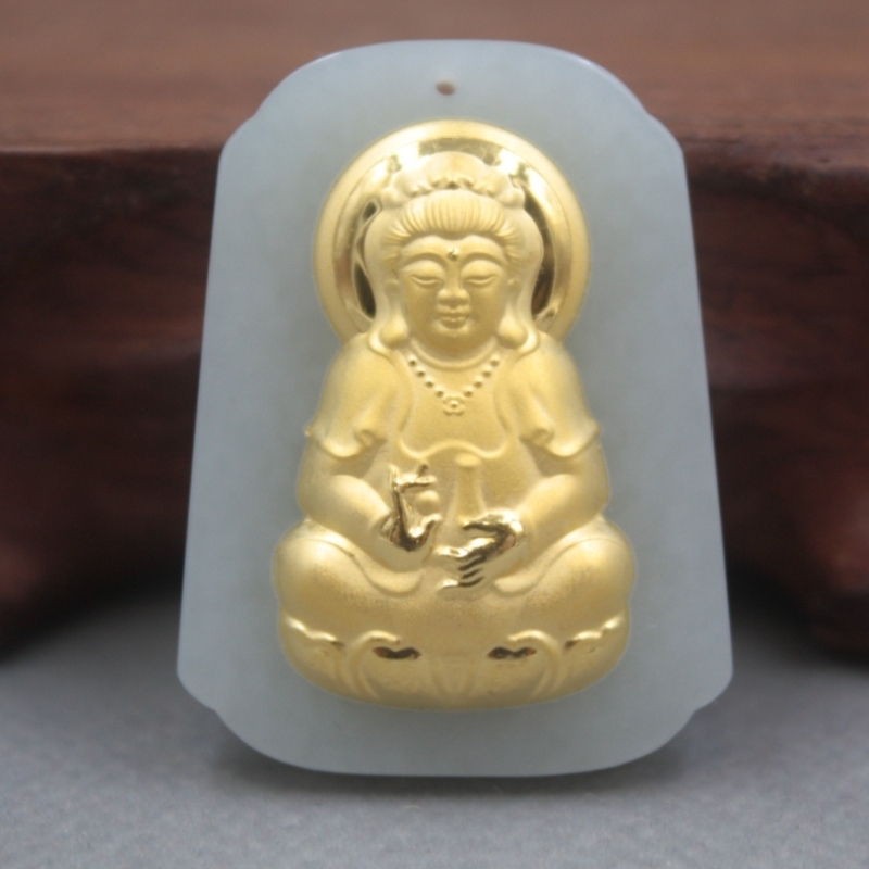 New Fine 24K Yellow Gold Natural Hetian Jadeite Jade Women Men Kwan-Yin Square Pendant 36x27mm