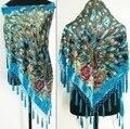 Синий Китайская Национальная 100% Шелк Бархат Шарф Платок Ручной Вышивки Бисером Пашмины Хиджаб Павлина Mujere Bufanda WS108