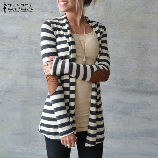 Jacket Plus Size 2017 Women Knitted Sweaters Striped Coat Cardigan Slim Chaquetas Mujer Open Stitch Long Sleeve Blusas Casaco