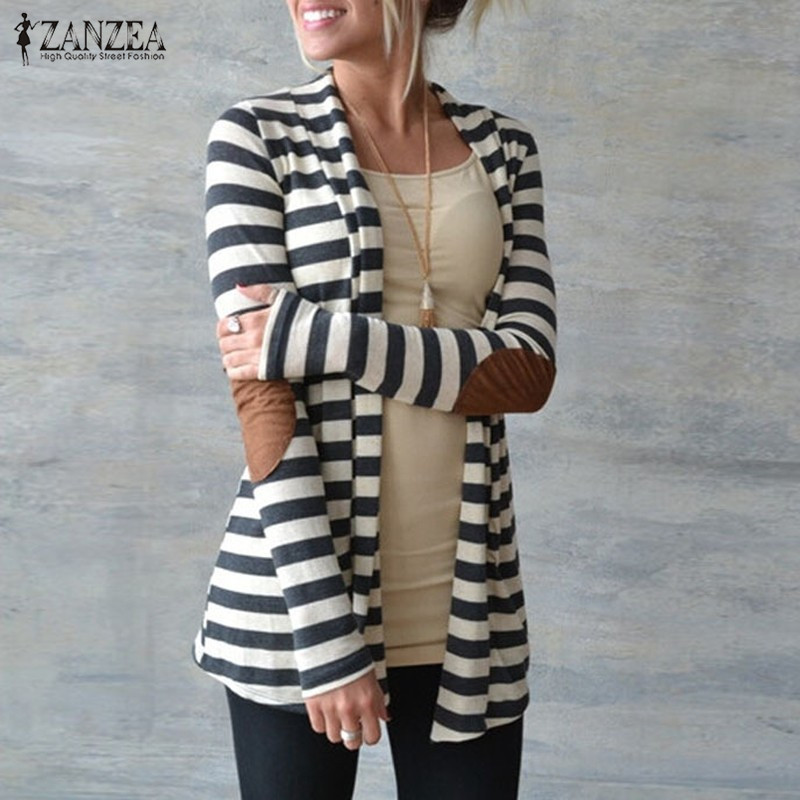 Jacket Plus Size 2017 Women <font><b>Knitted</b></font> Sweaters Striped Coat Cardigan Slim Chaquetas Mujer Open Stitch Long Sleeve Blusas Casaco
