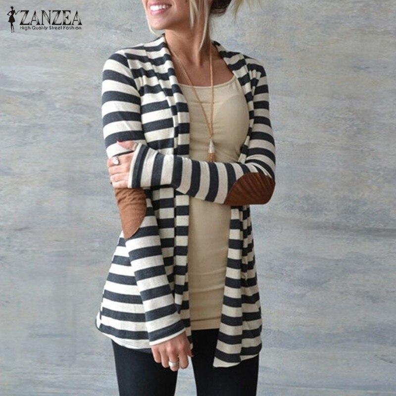 Jacke Plus Größe 2019 Frauen Strickpullis Gestreifter Mantel - Damenbekleidung - Foto 1