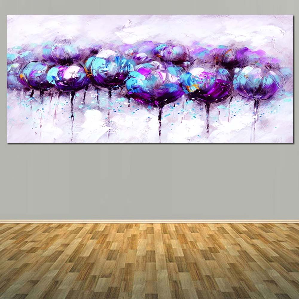 Purple Flower Oil Painting Abstract Wall Art Picture: Hand Painted Abstract Purple Blue Flower Oil Painting On