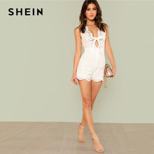 SHEIN Deep V Neck Party Sexy White Sleeveless Knot Scallop Eyelet Embroidery Scalloped Women Mid Waist Summer Playsuits Romper