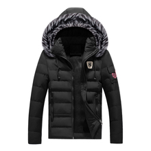 Fashion Winter Jacket Men Stand Fur Collar Hooded Coats Thick Velvet Men Parka Streetwear Casual Outwear Warm Down Jackets
