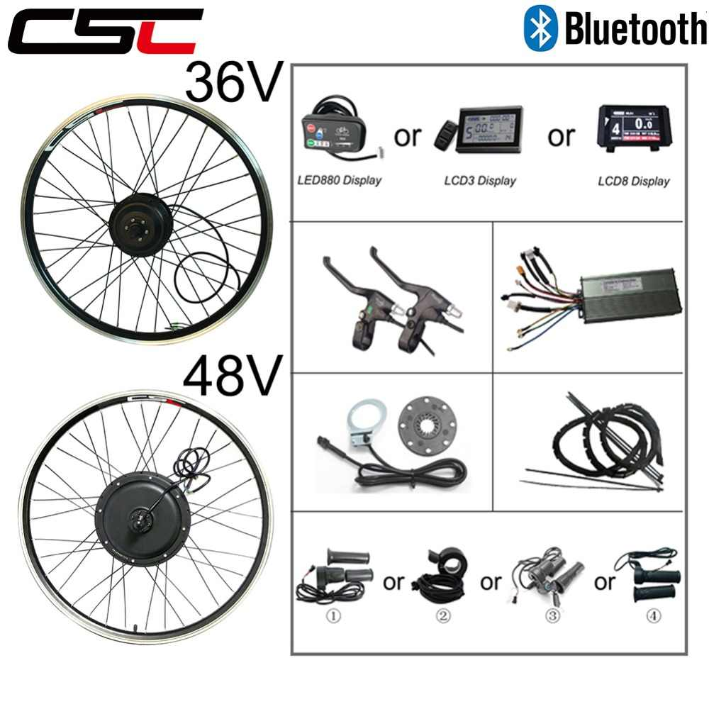 Electric bike Conversion Kit Bluetooth 36V 48V 250W 350W 500W 1000W 1500W 20-29inch 700C EBike Bicycle Front Rear Motor Wheel
