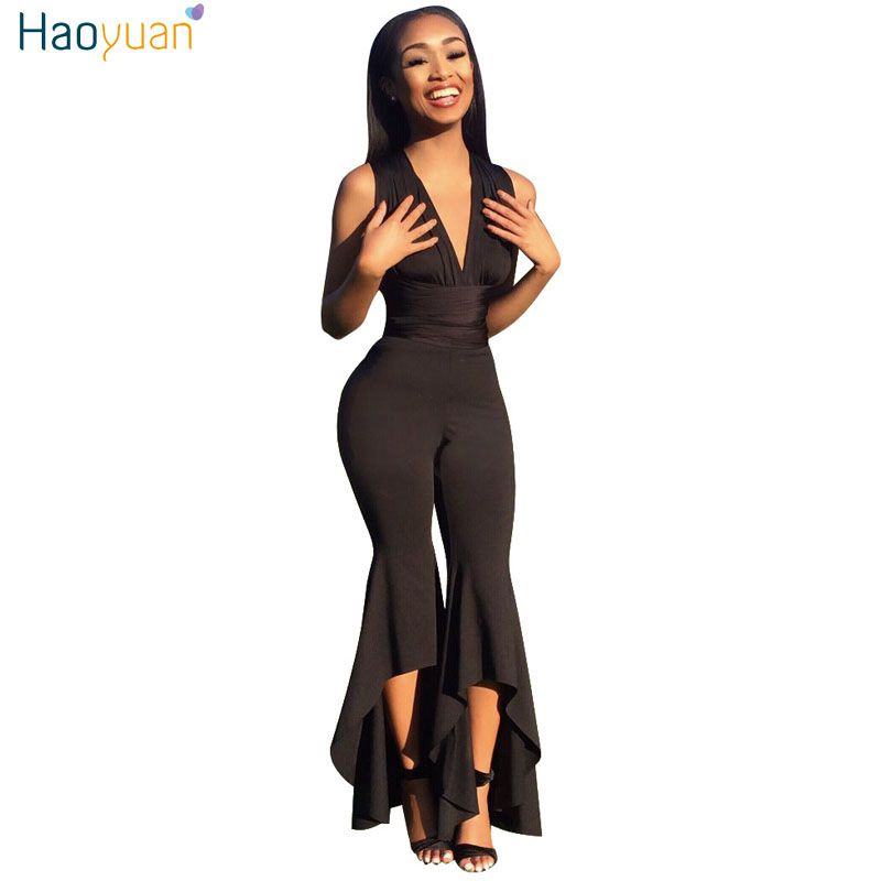 HAOYUAN Wide Leg Bodycon Jumpsuit Deep-V Summer Full Bodysuit Sexy Club Body Overalls Party Black White Rompers Womens Jumpsuit