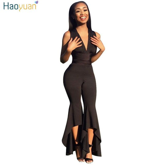 97ae2a5528fd HAOYUAN Wide Leg Bodycon Jumpsuit Deep-V Summer Full Bodysuit Sexy Club  Body Overalls Party Black White Rompers Womens Jumpsuit