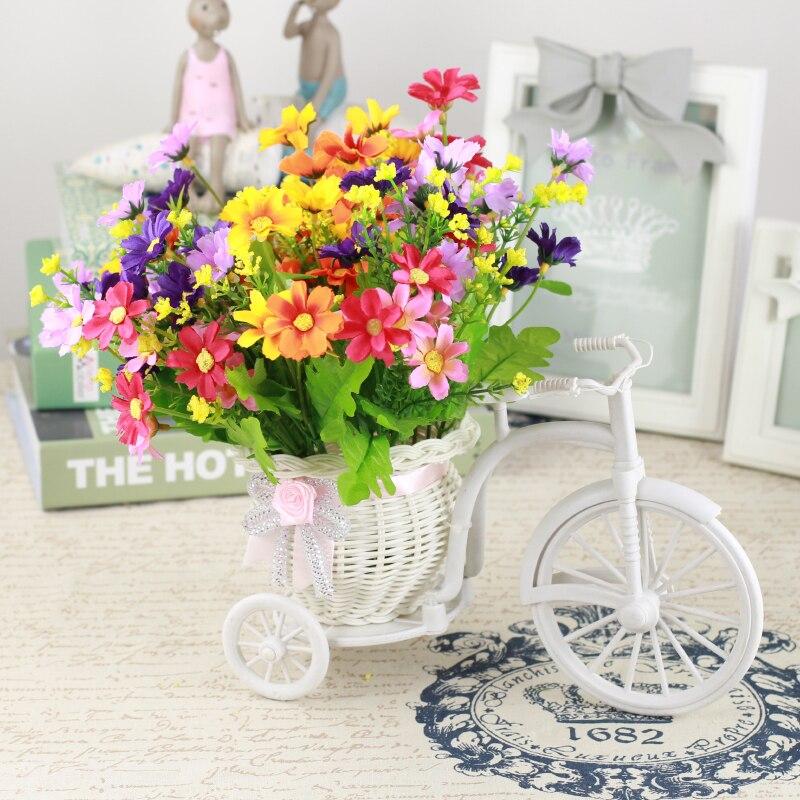 Acheter Nouvelle Soie Fleurs Ornementales Pot de Fleurs En Rotin Vélo Vase + Fleurs Artificielles En Plastique Rose Mariage Décoration De La Maison Cadeau D'anniversaire de flower plastic fiable fournisseurs