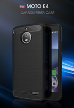For Motorola E4 Case Plus Europe Version Silicon Brushed Carbon Fiber Soft Phone Back Cover Moto Coque Funda Etui