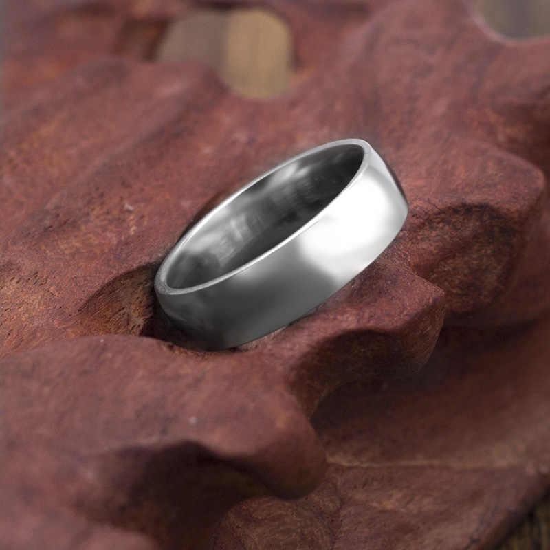 คลาสสิก 6mm สแตนเลสงานแต่งงาน Basic แหวนคู่ Comfort Fit ขนาด 7 ถึง 11