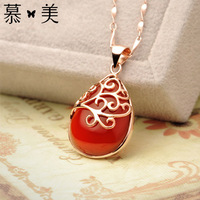 20mm*11mm 2 colors gold planted female Natural semi precious stone hollow red Pendant Korean fashion female birthday gift