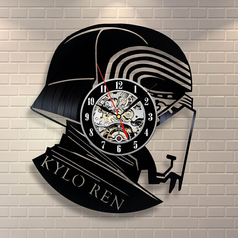 Kylo Ren Star Wars Vinyl Record Clock Home Design Room Art Decor Handmade Vintage