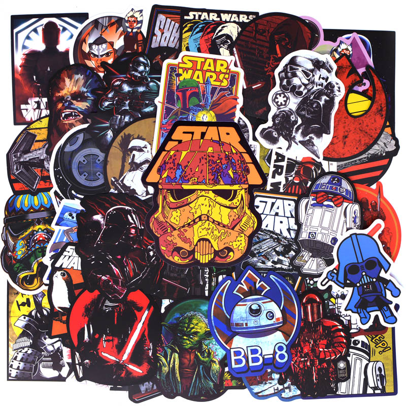 50pcs/pack New Super Cool Star Wars Stickers for Luggage Laptop Decal Skateboard Stickers Moto Bicycle Car Guitar Fridge Sticker action figure pokemon