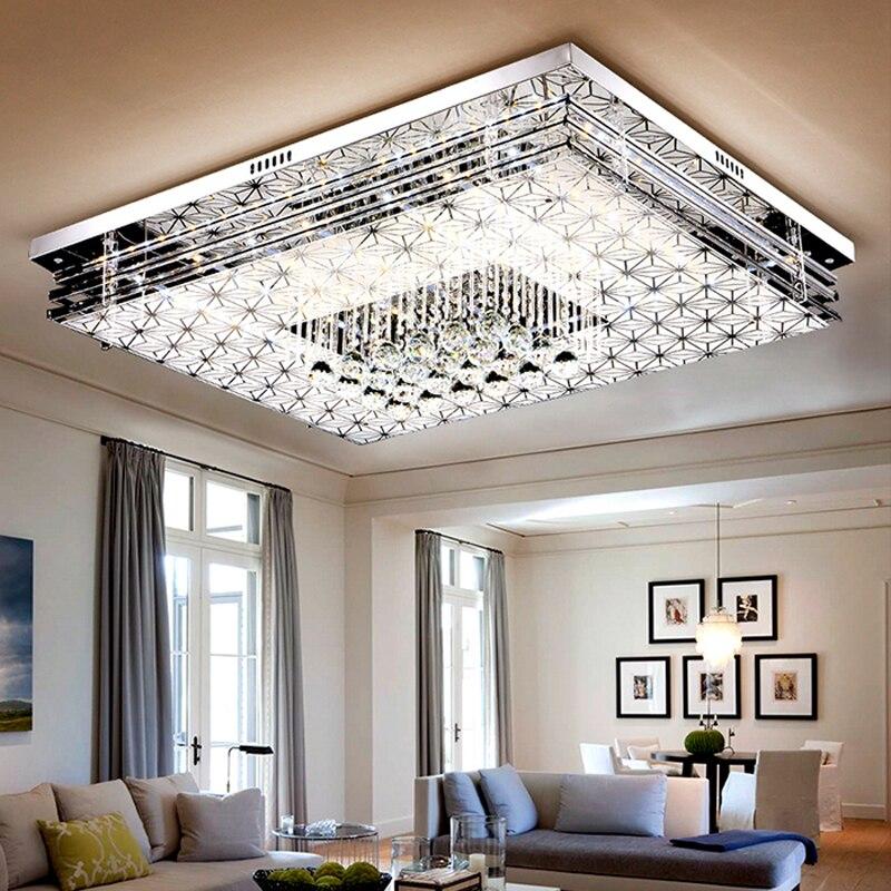 US $379.96 54% OFF Led wohnzimmer kristall lampe rechteck deckenleuchte  schlafzimmer lampe warme farbe umkleideraum lampe fernbedienung  beleuchtung-in ...